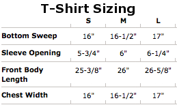 girls t shirt sizing