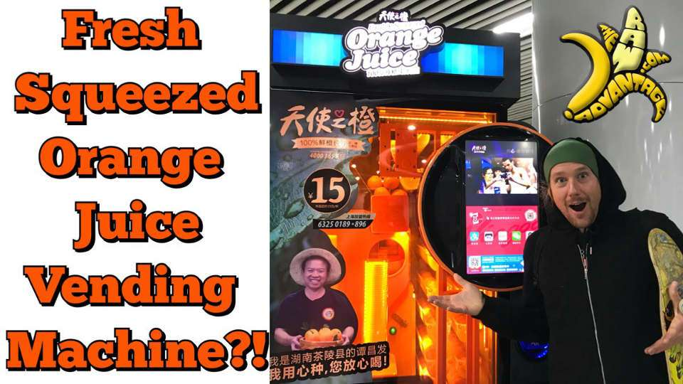 Fresh Squeezed Orange Juice Vending Machines in China!
